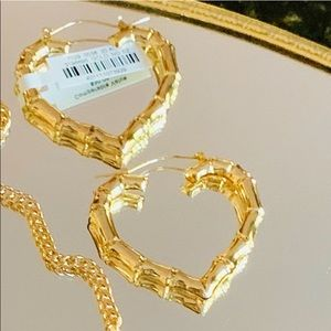 ✨🌟Gold Bamboo Heart Hoop Earrings ✨
